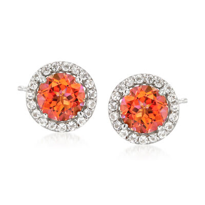 4.70 ct. t.w. Multicolored Topaz and .60 ct. t.w. White Topaz Post Earrings in Sterling Silver, , default