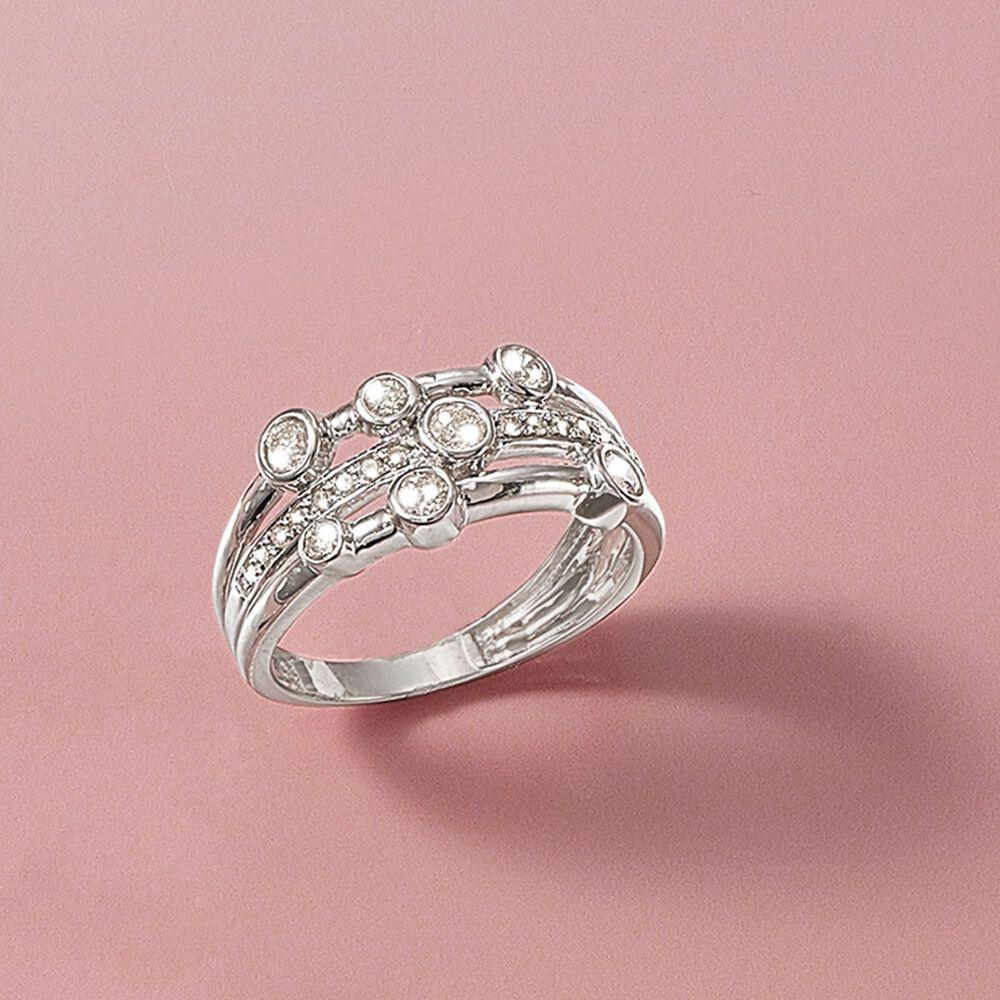 50 ct. t.w. Diamond Triple-Row Bezel Ring in 14kt White Gold | Ross ...