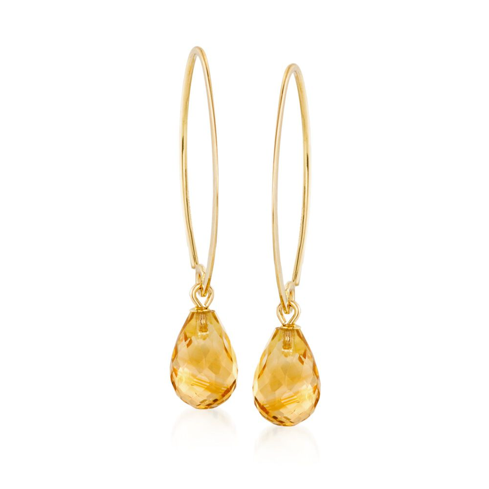 T W Citrine Earrings In 14kt Yellow Gold Default