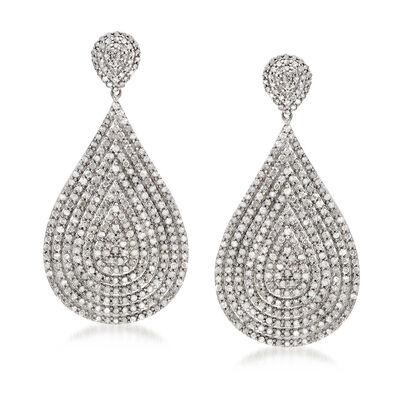 3.00 ct. t.w. Diamond Cluster Teardrop Earrings in Sterling Silver, , default