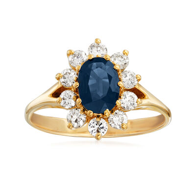 C. 1980 Vintage .90 Carat Sapphire and .50 ct. t.w. Diamond Ring in 14kt Yellow Gold, , default