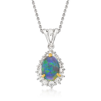 C. 1990 Vintage Black Opal and .70 ct. t.w. Diamond Pendant Necklace in Platinum and 18kt Yellow Gold