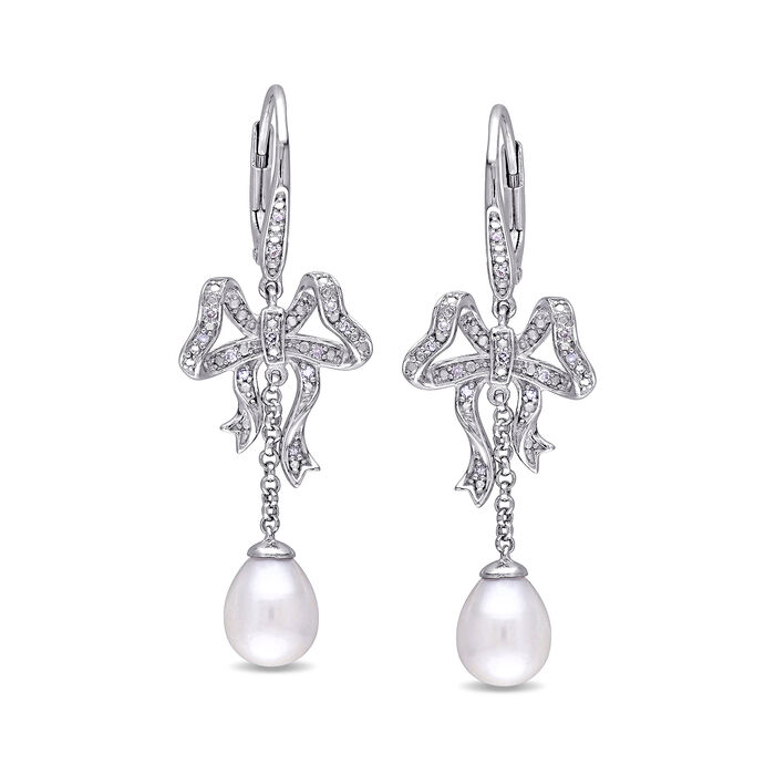 6-6.5mm Cultured Pearl Bow Drop Earrings with Diamond Accents in Sterling Silver, , default