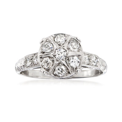 C. 1980 Vintage .55 ct. t.w. Diamond Cluster Ring in 18kt White Gold, , default