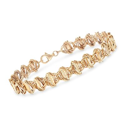 14kt Yellow Gold Multi-Finish Leaf-Link Bracelet, , default