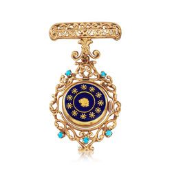 C. 1950 Vintage Turquoise and 18kt Yellow Gold Watch Pin With Blue Enamel, , default