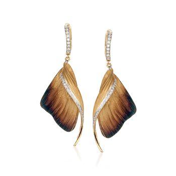 Simon G. .37 ct. t.w. Diamond Butterfly Drop Earrings in 18kt Yellow Gold, , default