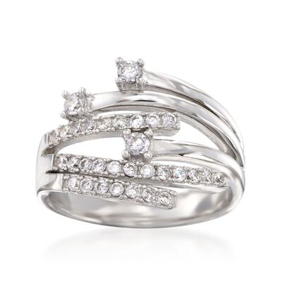 .55 ct. t.w. CZ Bypass Ring in Sterling Silver, , default