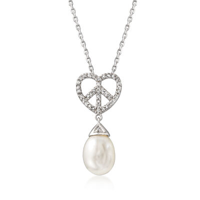 8mm Cultured Pearl and .15 ct. t.w. Diamond Heart Peace Sign Pendant Necklace in Sterling Silver