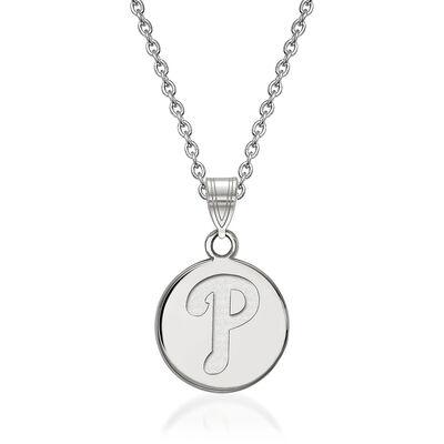 "Sterling Silver MLB Philadelphia Phillies Disc Pendant Necklace. 18"", , default"