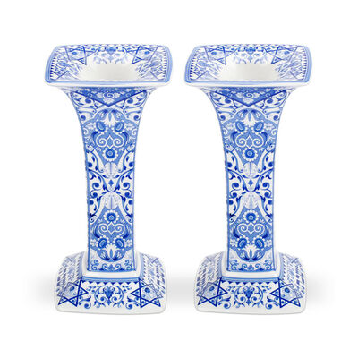 "Spode ""Blue Italian"" Set of Two Sabbath Candlestick Holders"