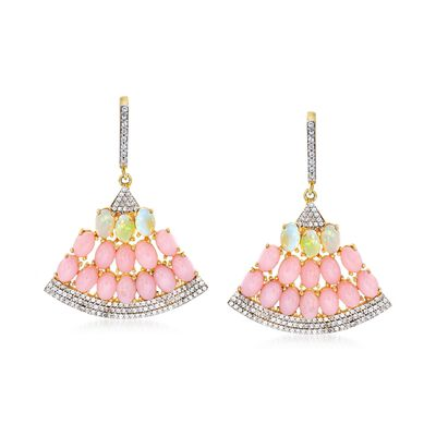 Pink and White Opal and 1.70 ct. t.w. White Zircon Fan Drop Earrings in 18kt Gold Over Sterling, , default