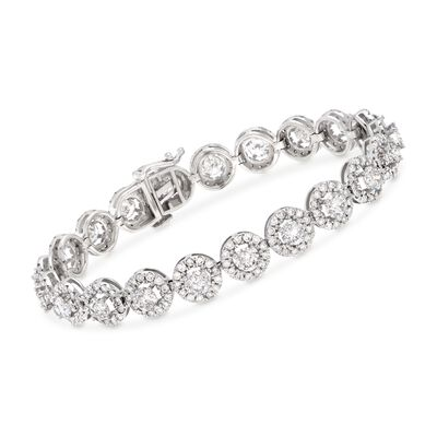 10.00 ct. t.w. Diamond Halo Bracelet in 14kt White Gold, , default