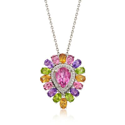 11.90 ct. t.w. Multi-Stone Pendant Necklace in Sterling Silver, , default