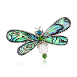 Abalone Shell and 1.00 ct. t.w. Multi-Stone Butterfly Pin With Cultured Pearl in Sterling Silver, , default