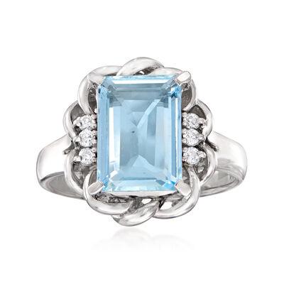 C. 1990 Vintage 2.18 Carat Aquamarine Swirl Ring in Platinum