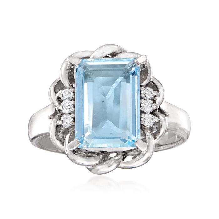 C. 1990 Vintage 2.18 Carat Aquamarine Swirl Ring in Platinum. Size 6
