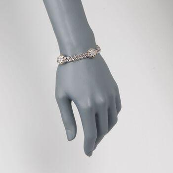 "Andrea Candela Two-Tone Floral Station Bracelet with Diamond Accents. 7"", , default"