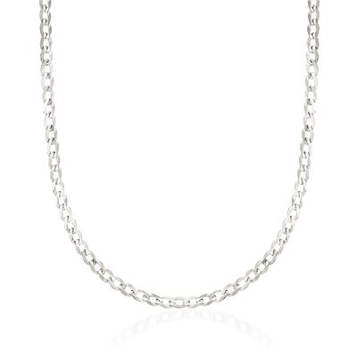 3.7mm 14kt White Gold Curb Chain Necklace, , default