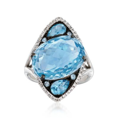 13.90 ct. t.w. Blue Topaz and .15 ct. t.w. Diamond Marquise Ring in 14kt White Gold, , default
