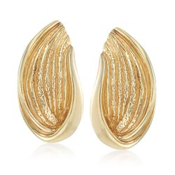 Italian 18kt Yellow Gold Over Sterling Abstract Leaf Earrings, , default