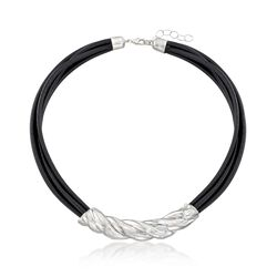 """Sterling Silver Twist and Black Leather Cord Necklace. 18"""", , default"""