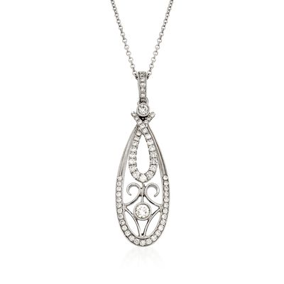 Simon G. .58 ct. t.w. Fancy Diamond Pendant Necklace in 18kt White Gold, , default