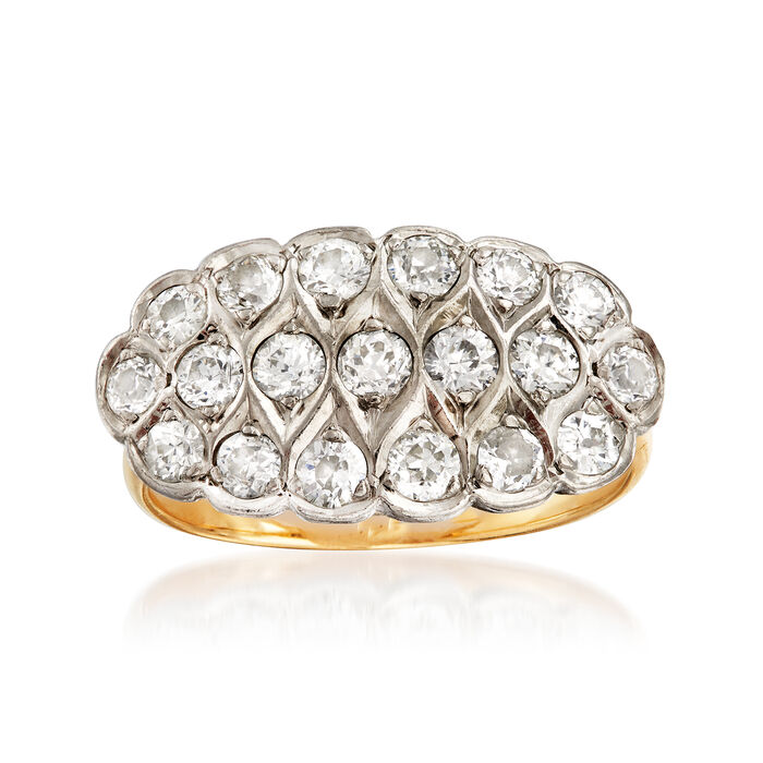 C. 1940 Vintage 1.10 ct. t.w. Diamond Cluster Ring in 14kt Two-Tone Gold. Size 6, , default