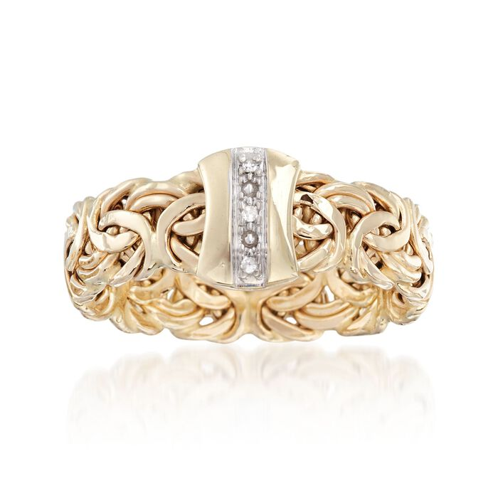 14kt Yellow Gold Byzantine Ring with Diamond Accents, , default