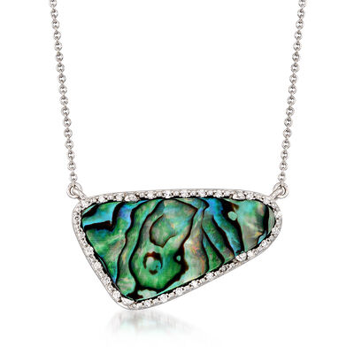 Abalone Shell and .10 ct. t.w. Diamond Necklace in Sterling Silver, , default