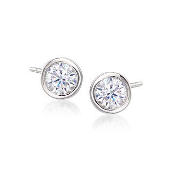 1.00 ct. t.w. Bezel-Set CZ Stud Earrings in Sterling Silver, , default