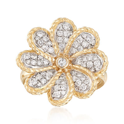 .75 ct. t.w. Diamond Floral Ring in 14kt Yellow Gold, , default