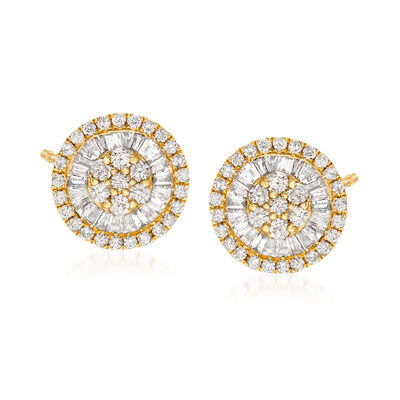 2.16 ct. t.w. Diamond Circle Cluster Earrings in 18kt Yellow Gold, , default