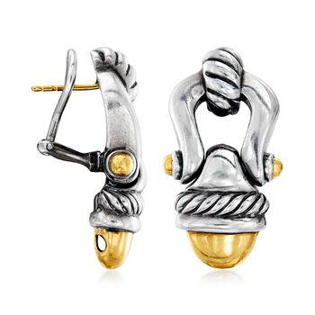 C. 2000 Vintage David Yurman Sterling Silver and 14kt Yellow Gold Doorknocker Drop Earrings, , default