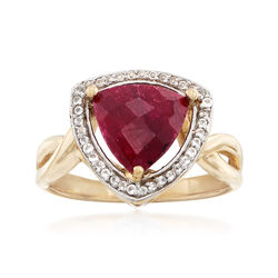 3.10 Carat Ruby and .15 ct. t.w. White Topaz Ring in 14kt Gold Over Sterling, , default