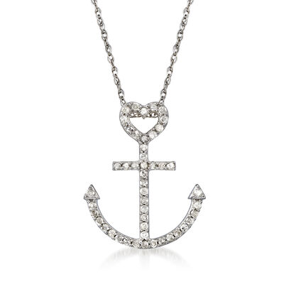 .20 ct. t.w. Diamond Heart and Anchor Pendant Necklace in 14kt White Gold, , default