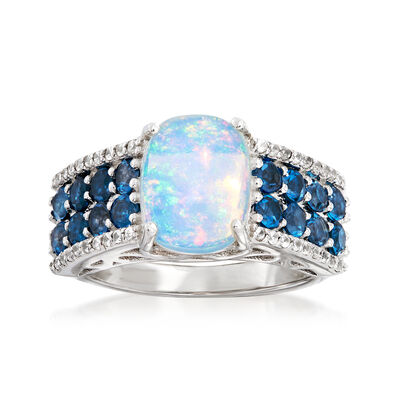10x8mm Opal, 13.00 ct. t.w. Lodon Blue Topaz and .20 ct. t.w. White Zircon Ring in Sterling Silver, , default