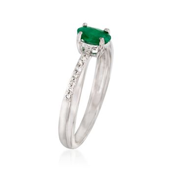 .50 Carat Emerald Ring with Diamond Accents in Sterling Silver, , default