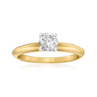 C. 1990 Vintage .50 Carat Diamond Ring in 14kt Yellow Gold
