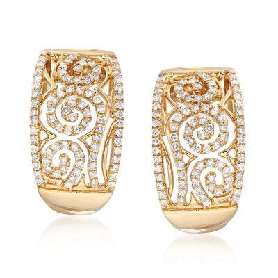 .64 ct. t.w. Diamond Swirl Half-Hoop Earrings in 14kt Yellow Gold , , default