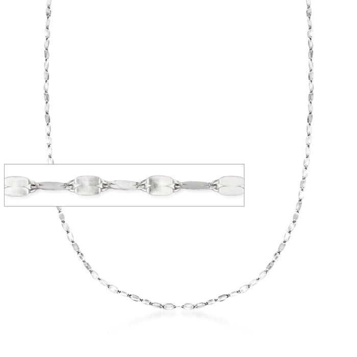 "Italian 1.5mm 14kt White Gold Adjustable Slider Lumachina Chain. 22"", , default"