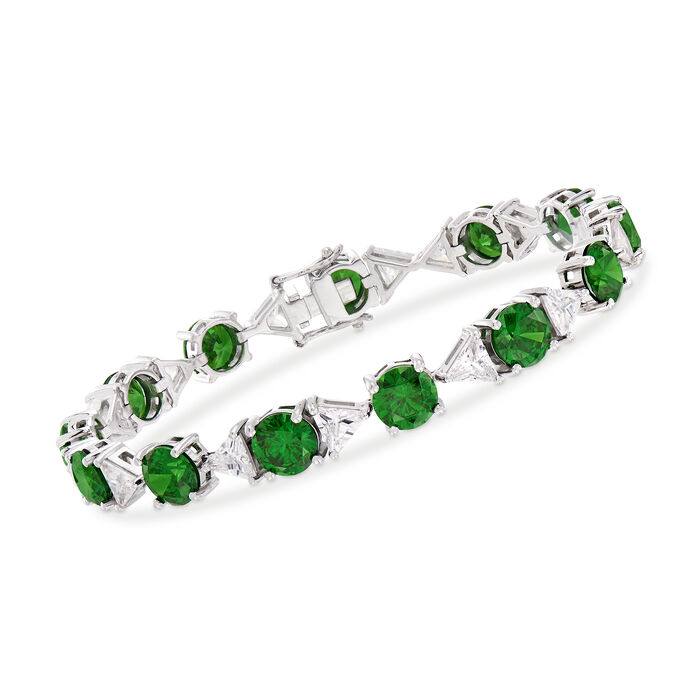 Simulated Emerald and 7.00 ct. t.w. CZ Bracelet in Sterling Silver, , default