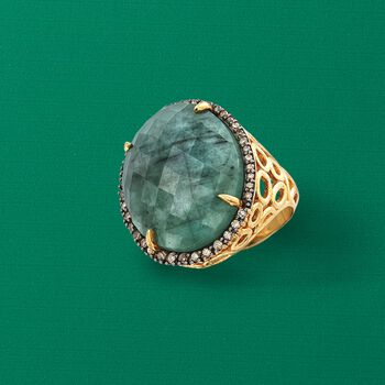 15.00 Carat Emerald and .45 ct. t.w. Diamond Ring in 18kt Yellow Gold Over Sterling Silver, , default