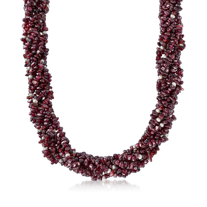 860.00 ct. t.w. Garnet and 3.5-4mm Cultured Pearl Torsade Necklace with 18kt Gold Over Sterling