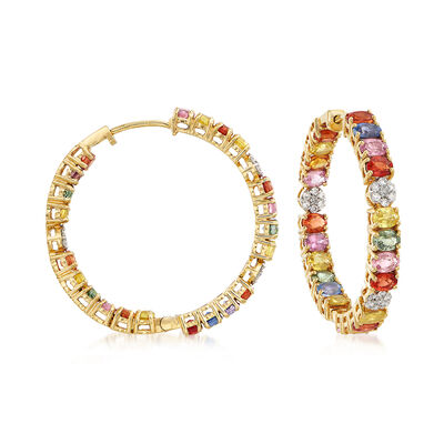11.00 ct. t.w. Multicolored Sapphire and .44 ct. t.w. Diamond Inside-Outside Hoop Earrings in 18kt Yellow Gold