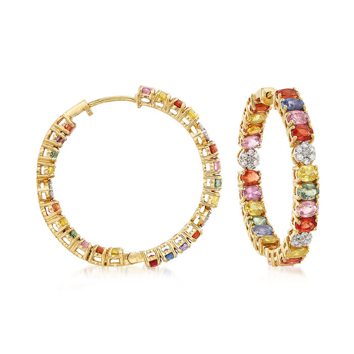"""11.00 ct. t.w. Multicolored Sapphire and .44 ct. t.w. Diamond Inside-Outside Hoop Earrings in 18kt Yellow Gold. 1 1/4"""", , default"""