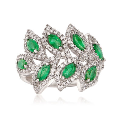 1.10 ct. t.w. Emerald and 1.10 ct. t.w. White Topaz Leaf Ring in Sterling Silver, , default