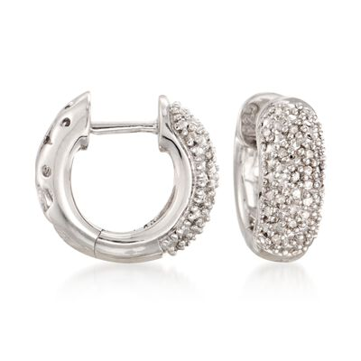 Diamond Accent Wide Hoop Earrings in Sterling Silver, , default