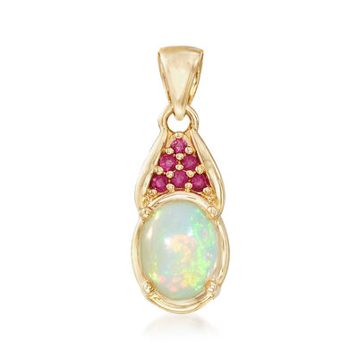 Opal and .10 ct. t.w. Pink Sapphire Pendant in 14kt Yellow Gold, , default