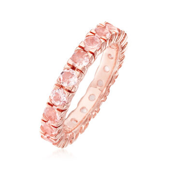 1.80 ct. t.w. Morganite Eternity Band in 14kt Rose Gold Over Sterling